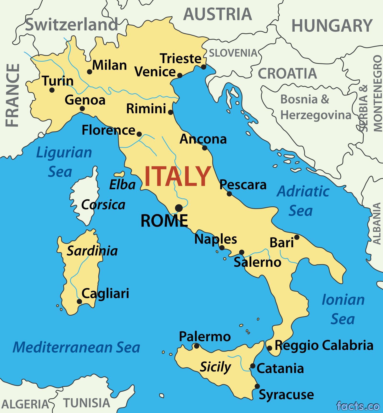 Italien Havet Kort Kort Over Italien Over Havet Det Sydlige
