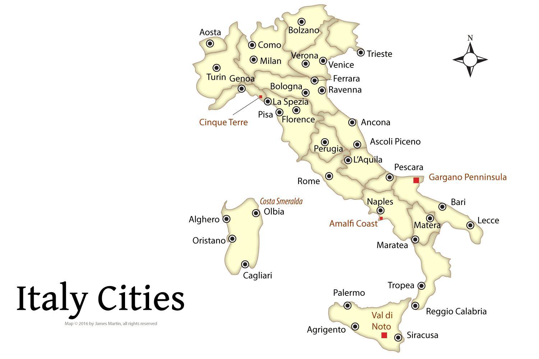 Italien Kort Turistmal Turist Kort Over Italien Med Byer Det