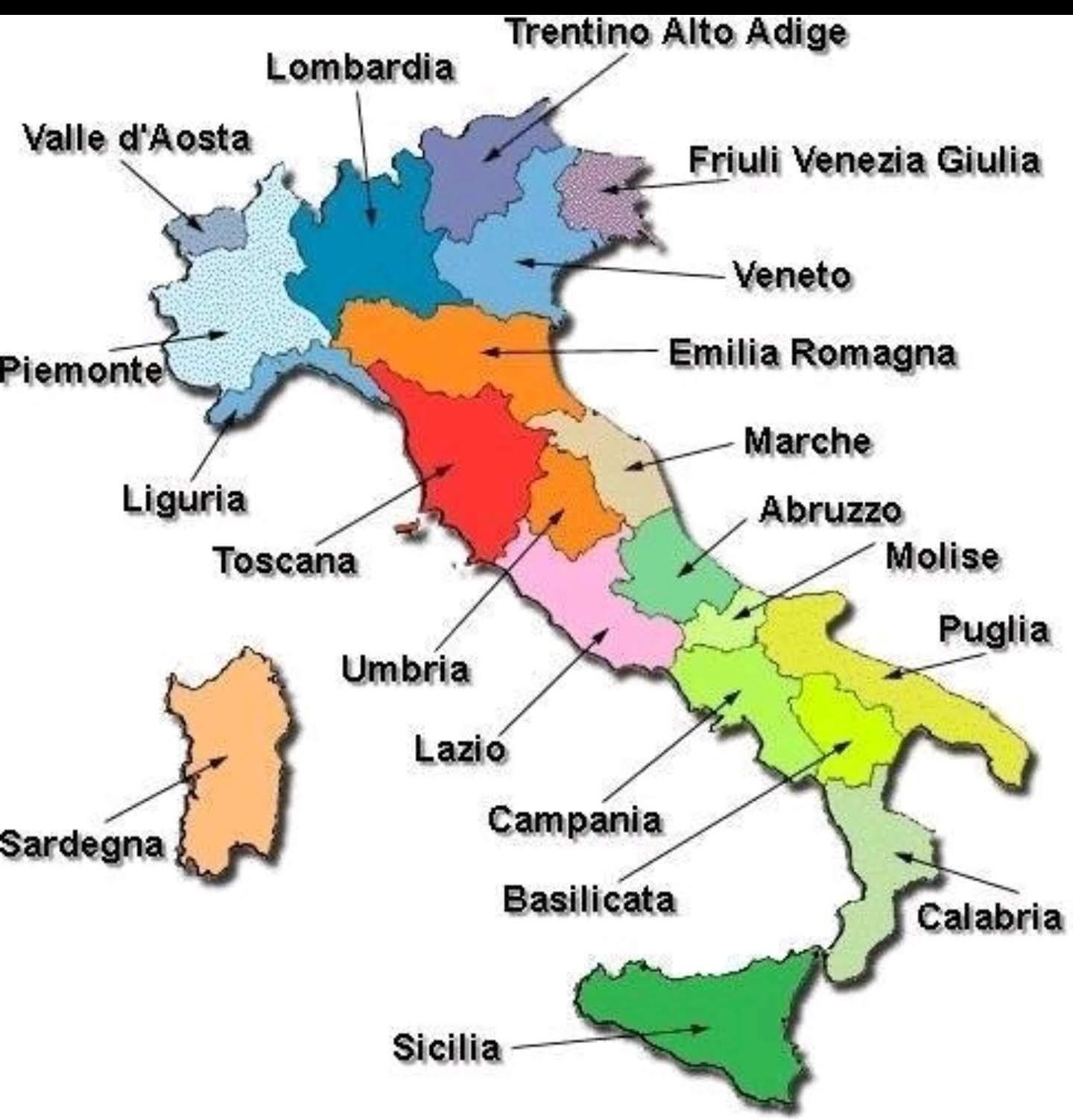 Regioner I Italien Kort Med Byer Printable Kort Over Italien Med