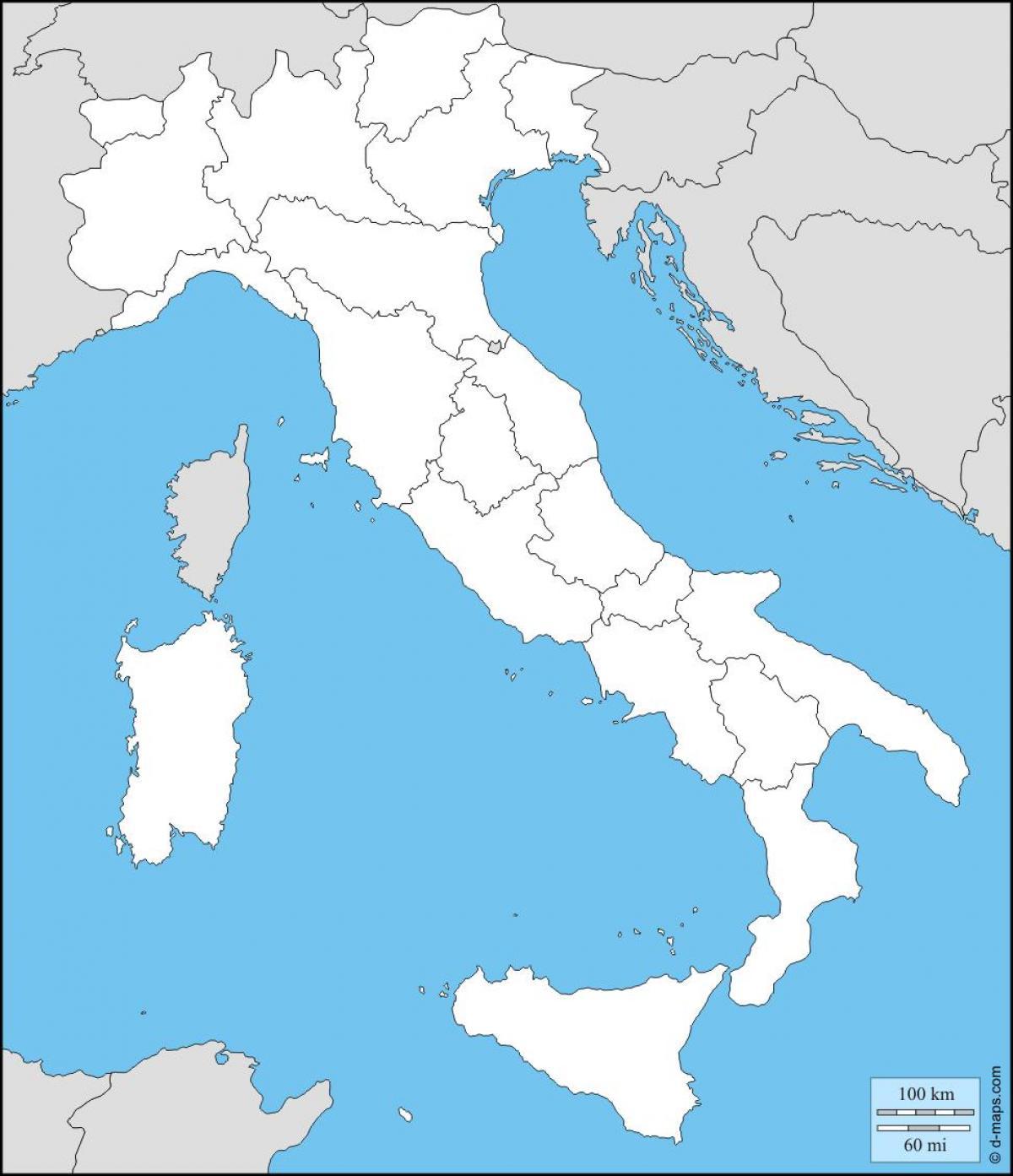 Blank Kort Over Italien Blanke Kort Over Italien Med Regioner