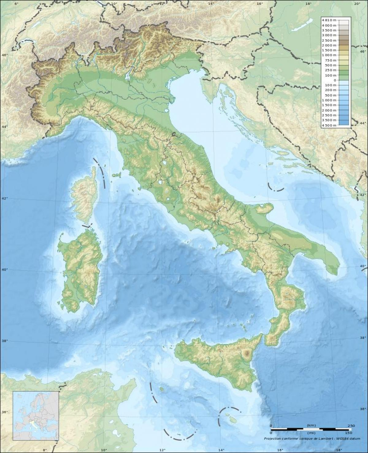 Italien Elevation Kort Kort Over Italien Hojde Sydlige Europa