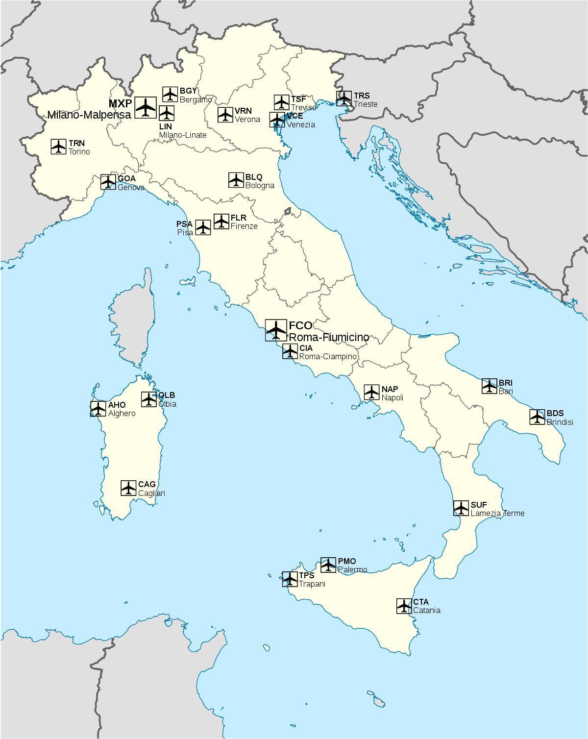 Italien Lufthavn Kort Internationale Lufthavne I Italien Kort