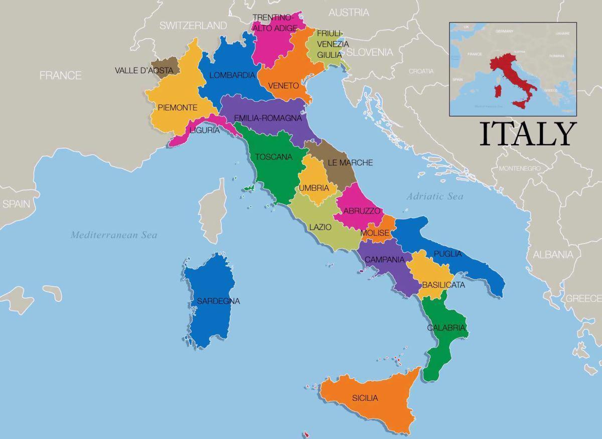 Italien Omrade Kort Kort Over Italien Og Regioner Sydlige