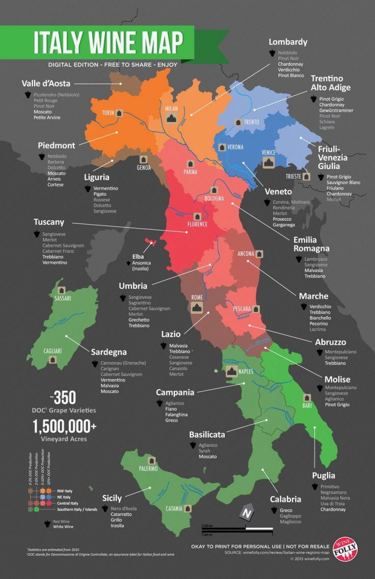 Italien Vin Land Kort Vin Land I Italien Kort Det Sydlige