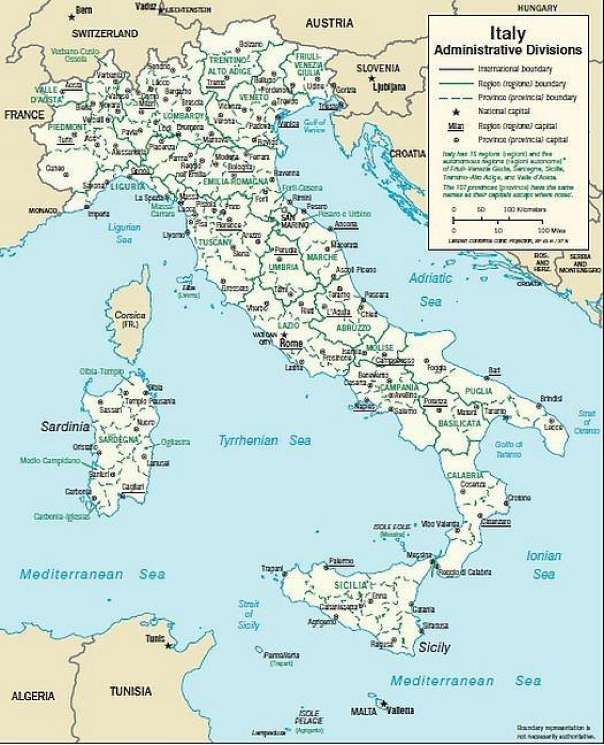 Kort Over Det Sydlige Italien Byer Kort Over Italien Sydlige