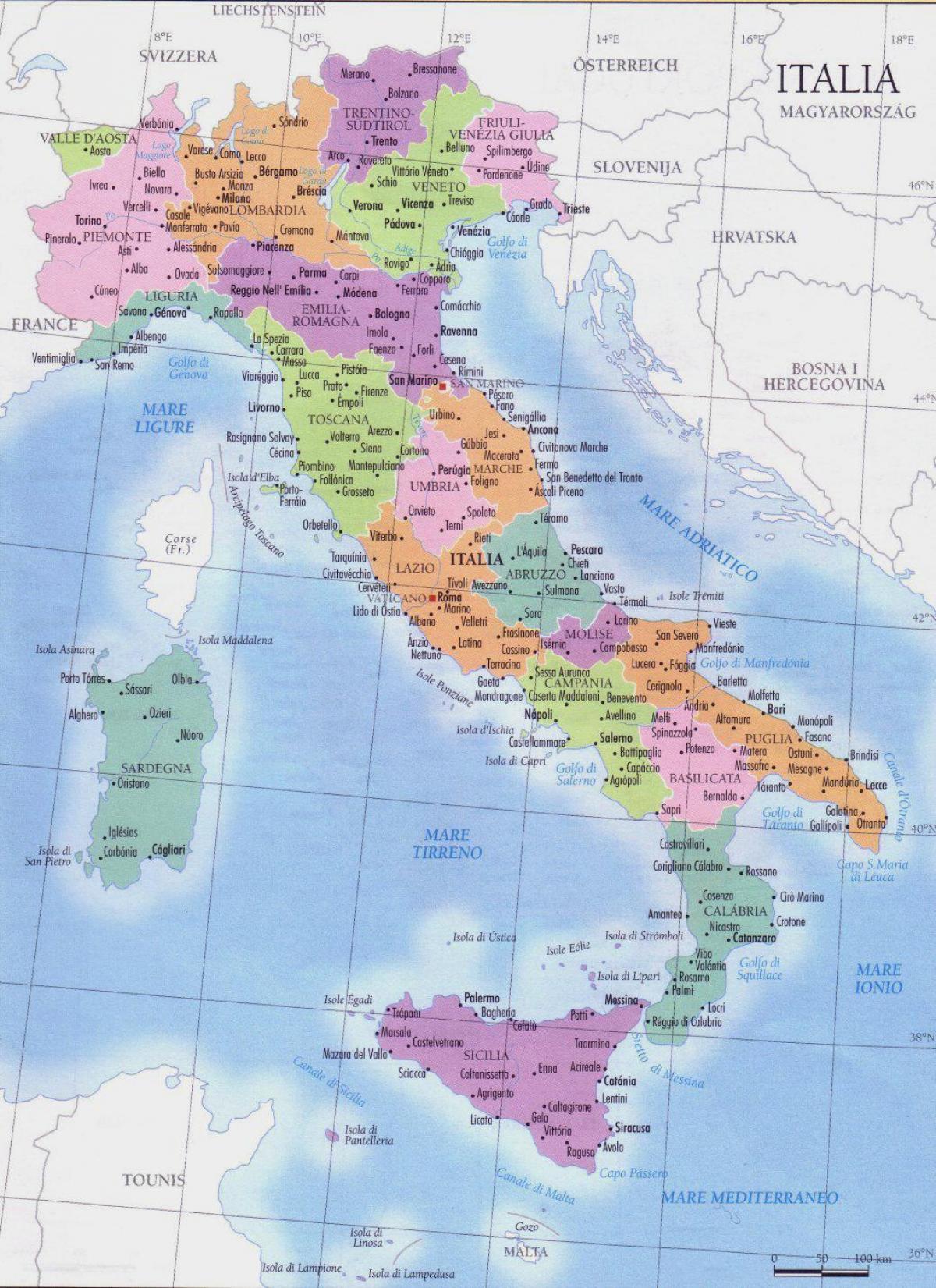 Kort Over Italien Regioner Detaljeret Kort Over Italien Regioner