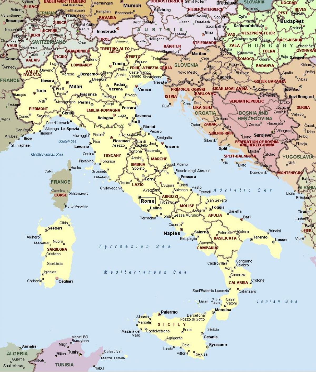 Store Kort Over Italien Kort Over Italien Stor Det Sydlige