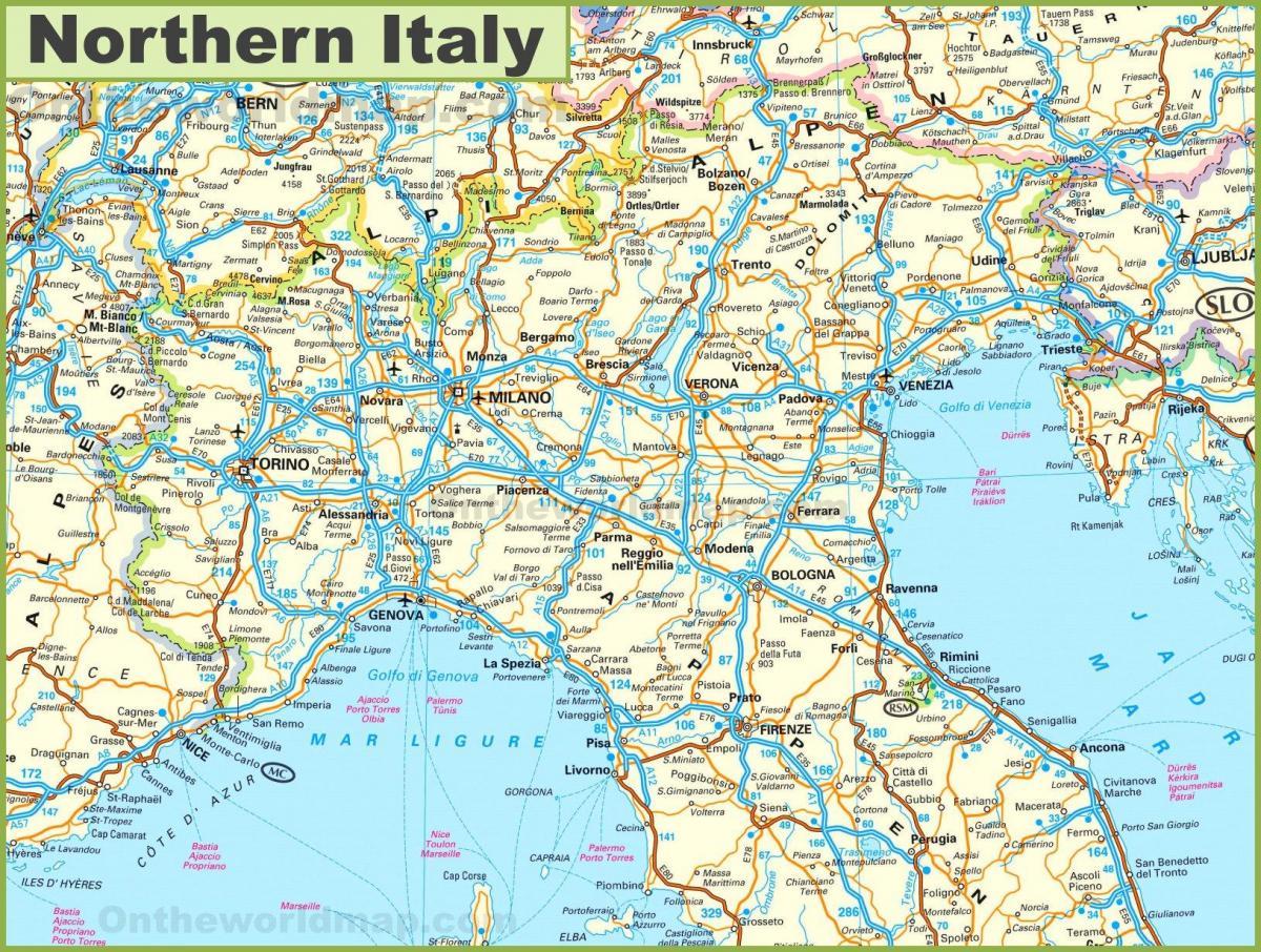 Vej Kort Over Det Nordlige Italien Vis Mig Et Kort Over Det